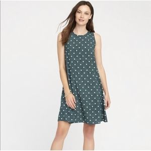 Old navy green polka dot sleeveless shift dress M